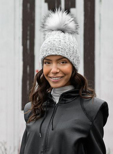 Fold Up Faux Fur Pom Beanie in Silver Marl