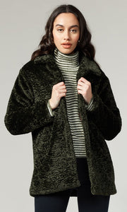 Faux Fur Coat in Forest Green