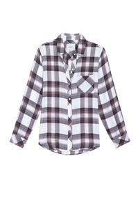 Hunter Plaid Shirt in White/Grey/Peach