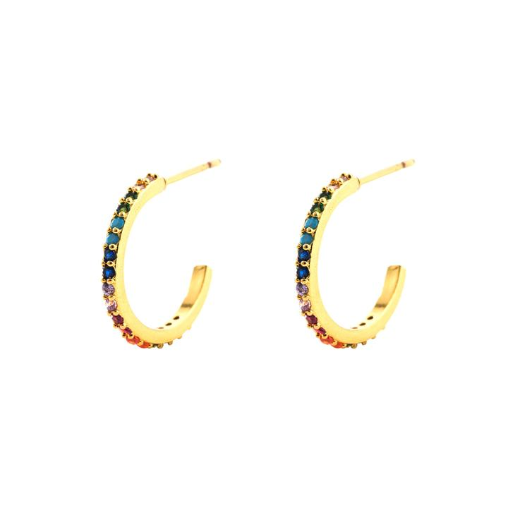 Medium Gemstone Hoop Earrings in 18K Gold