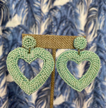 Load image into Gallery viewer, Beaded Heart Earrings in Mint