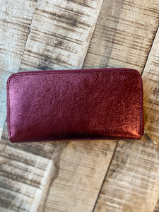 Italian Leather Metallic Wallet in Red