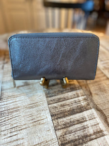 Italian Leather Metallic Wallet in Gunmetal