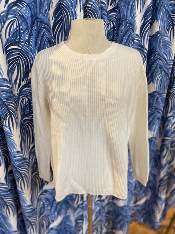 Cotton Shaker Sweater in Chalk
