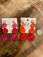 Load image into Gallery viewer, Splatter Paint Circle Earring in Orange Combo