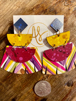 Load image into Gallery viewer, Lauren Fringe Earring in Mustard/Magenta