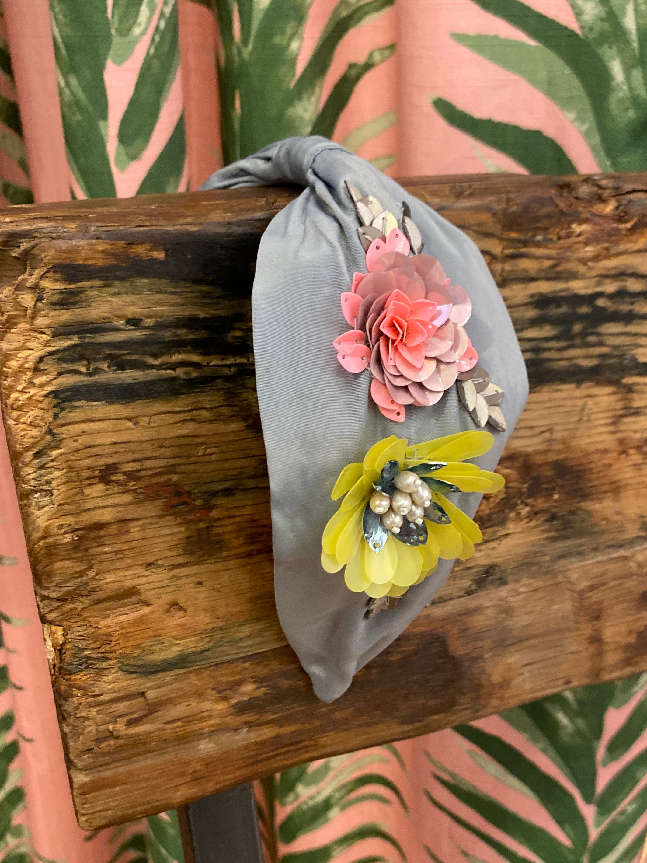 Pastel Flower Headband in Grey
