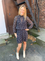 Load image into Gallery viewer, Kirsten Dress in Navy Thistle Print