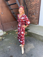 Load image into Gallery viewer, Blooming Business Wrap Dress in Chili Multi