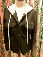Load image into Gallery viewer, Hooded Shirt Jacket in Army