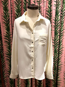 Ruffle Trim Blouse in Ivory