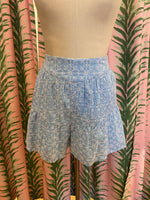 Load image into Gallery viewer, Ruffle Eyelet Short in Light Blue