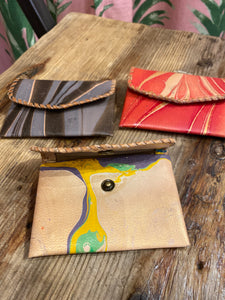 Marbled Leather Card Holder in Grey Multi