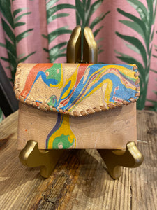 Marbled Leather Card Holder in Multi