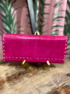 Leather Wallet in Fuchsia