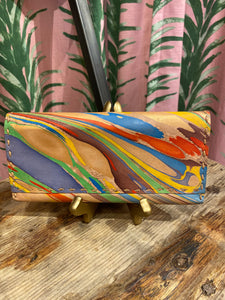 Marbled Leather Wallet in Multi Straight