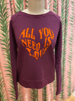 Load image into Gallery viewer, All You Need Is Love Sweatshirt in Beetroot