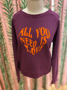 All You Need Is Love Sweatshirt in Beetroot