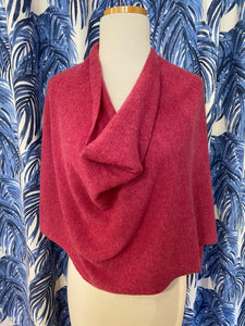 100% Cashmere Dress Topper/Poncho in Wild Rose