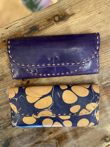 Marbled Leather Wallet in Navy Combo