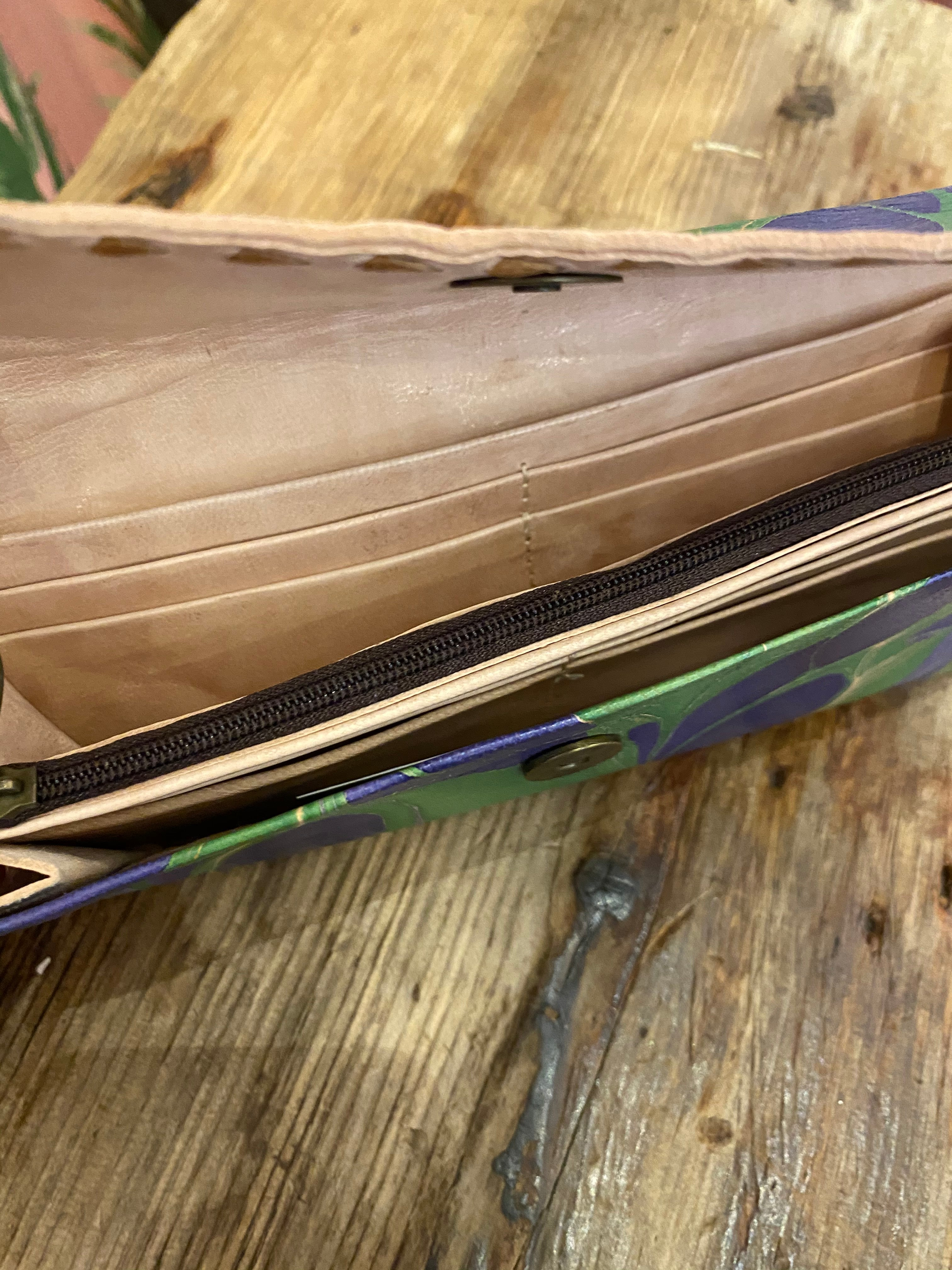 Marbled Leather Wallet in Navy Green Swirl