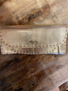 Leather Wallet in Metallic Gold