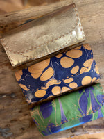 Load image into Gallery viewer, Marbled Leather Wallet in Navy Green Swirl