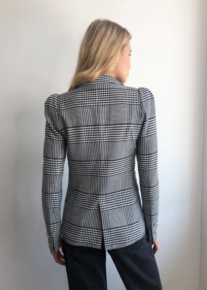 Puff Shoulder Blazer in Black and White Houndstooth