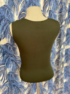Front Wrap Sleeveless Top in Olive
