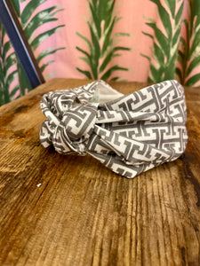 Fabric Headband in Grey Trellis