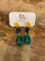 Load image into Gallery viewer, Drop Gem Earrings in Yellow/Green Combo