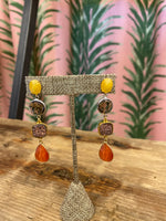 Load image into Gallery viewer, Drop Gem Earrings in Orange/Yellow Combo