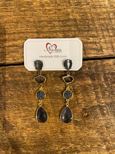 Drop Gem Earrings in Black/Grey Combo