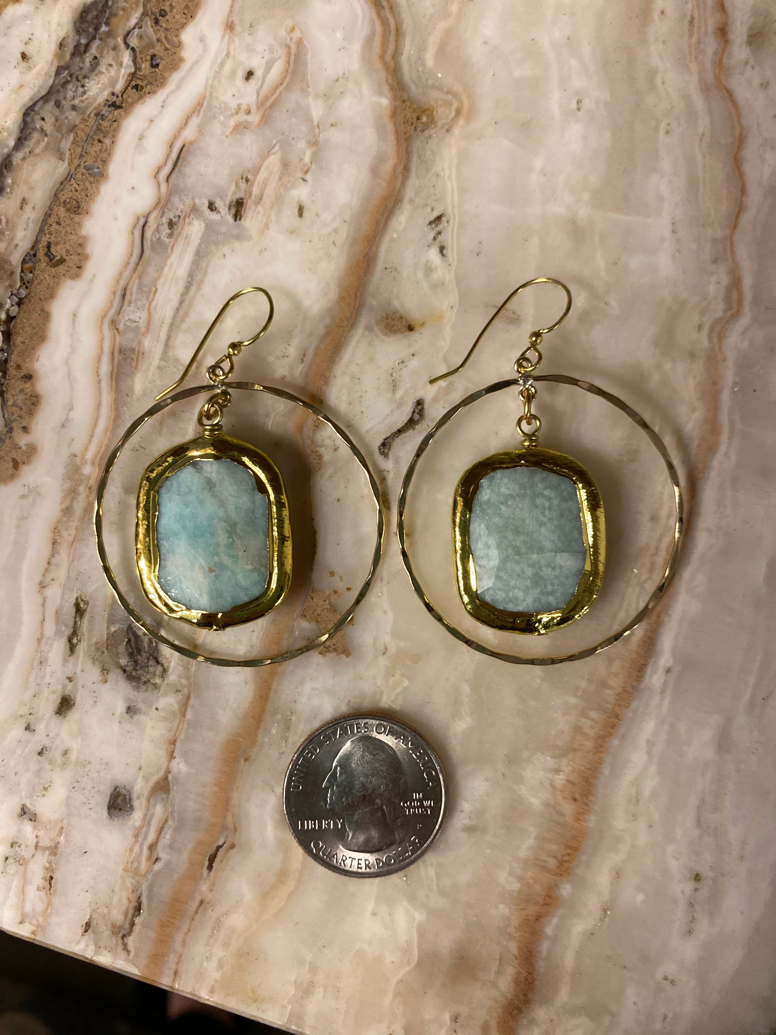 Gold Fill Hoops with Amazonite