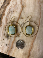 Load image into Gallery viewer, Gold Fill Hoops with Amazonite