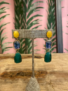 Drop Gem Earrings in Yellow/Green Combo