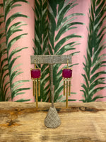 Load image into Gallery viewer, Gold Plated Square Drop Earring in Fuchsia Chalcedony