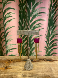 Gold Plated Square Drop Earring in Fuchsia Chalcedony