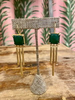 Load image into Gallery viewer, Gold Plated Square Drop Earring in Green Quartz