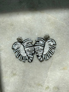 Sequin Palm Earring in White