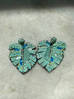 Load image into Gallery viewer, Sequin Palm Earring in Turquoise