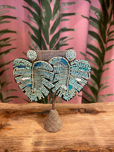 Sequin Palm Earring in Turquoise
