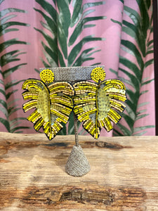 Sequin Palm Earring in Yellow