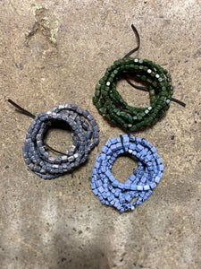 Marbled Metal Stretch Bracelet Set in Denim
