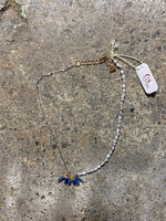 Load image into Gallery viewer, Asymmetrical Necklace in Gray Pearl/Sapphire/Silver Chain