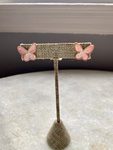 Gold Trim Butterfly Stud Earring in Pink Pearl