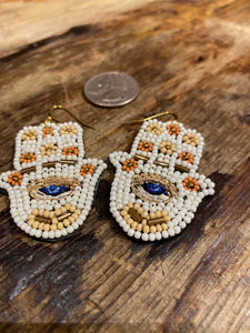 Beaded Hamsa Earrings in Ivory/Nude Combo