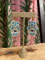 Load image into Gallery viewer, Beaded Hamsa Earrings in Ivory/Sky Blue Combo