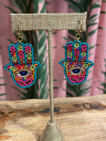 Load image into Gallery viewer, Beaded Hamsa Earrings in Turquoise Combo