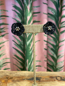 Rattan Flower Stud Earring in Black
